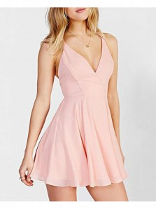 Simple A Line V Neck Backless Spaghetti Straps Chiffon Pink Short Homecoming Dresses Under 100, Summer Dresses HD0802002