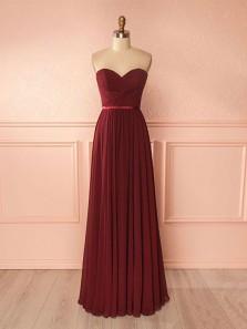 Elegant A Line Sweetheart Chiffon Long Bridesmaid Dresses , Formal Prom Dresses Under 100 BD0802001