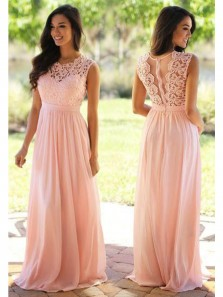 Elegant A Line Round Neck Chiffon Pink Long Bridesmaid Dresses with Lace