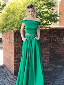 Charming A Line Two Piece Off the Shoulder Satin Green Long Prom Dresses with Pockets, Long Homecoming Dresses