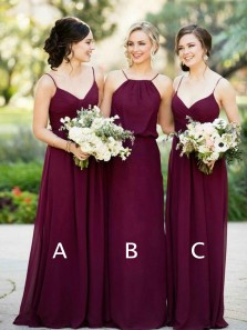 Sheath V Neck Spaghetti Straps Chiffon Burgundy Long Bridesmaid Dresses Under 100 BD0802003