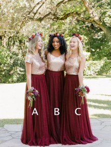 Charming A Line Round Neck Sequins and Tulle Burgundy Long Bridesmaid Dresses Under 100 BD0802004