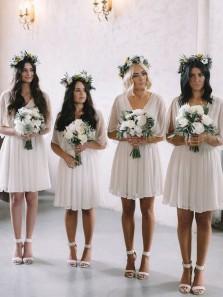 Charming A Line V Neck Open Back Short Sleeves Chiffon Ivory Short Bridesmaid Dresses Under 100