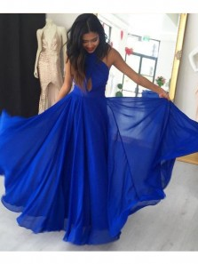 Charming A Line Halter Cross Back Chiffon Royal Blue Long Prom Dresses for Teens, Fairy Party Dresses