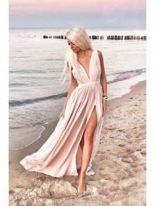 Charming A Line V Neck High Slit Champagne Chiffon Long Prom Dresses, Summer Beach Dresses
