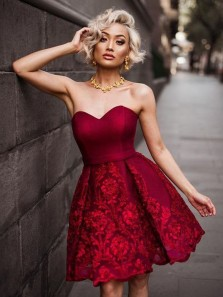 Cute A Line Sweetheart Open Back Satin Dark Red Lace Short Homecoming Dresses, Formal Prom Dresses