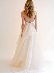 Gorgeous Ball Gown V Neck Backless France Organza Ivory Long Wedding Dresses  WD0803001
