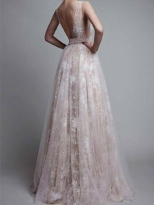 Charming A Line V Neck Open Back Fairy Lace Long Prom Dresses, Formal Evening Dresses PD0803001