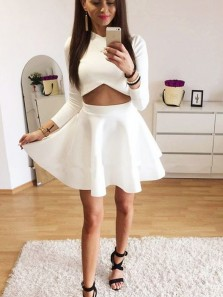 Cute A Line Two Piece Round Neck Long Sleeves White Short Homecoming Dresses with Pockets, Short Black Dresses, Little Black Dresses