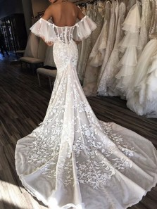 Gorgeous Mermaid Off the Shoulder Open back Ivory Lace Wedding Dresses with Court Train