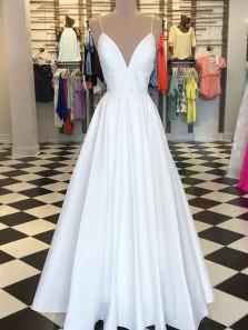 Elegant A Line V Neck Spaghetti straps Backless Satin White Long Prom Dresses with Pockets, Simple Prom Dresses PD0803002