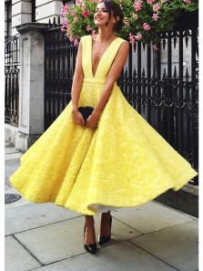 Gorgeous A Line V Neck Open Back Yellow Jacquard Weave Long Homecoming Dresses, Formal Ankle Prom Dresses,