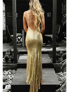Charming Mermaid V Neck Backless Gold Sequins Long Prom Dresses, Sparkly Evening Dresses