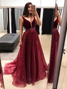 Gorgeous A Line V Neck Backless Organza and Velvet Burgundy Long Prom Dresses with Beading, Beautiful Quinceanera Dresses