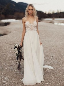Fairy A Line Sweetheart Spaghetti Straps Backless Chiffon Ivory Long Wedding Dresses with Lace, Beach Wedding Dresses