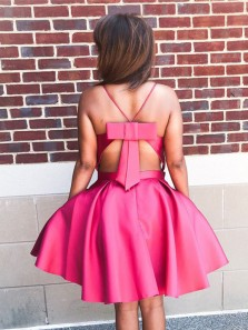 Cute A Line V Neck Spaghetti Straps Backless Short Homecoming Dresses with Bow Under 100, Short Prom Dresses with Pockets