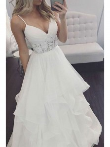 Elegant A Line V Neck Spaghetti straps Backless Ivory Organza Long Wedding Dresses with Lace