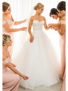 Fairy Ball Gown Sweetheart Ivory Tulle Long Wedding Dresses with Appliques