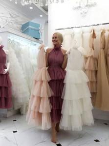 Unique A Line Halter Tulle Tiered Dresses, White Long Prom Dresses, Long Quinceanera Dresses PD0803007