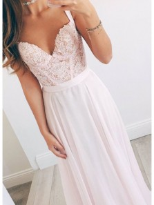 Gorgeous A Line V Neck Spaghetti straps Chiffon Peal Pink Lace Long Prom Dresses, Fairy Prom Dresses