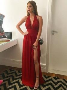 Charming A Line V Neck Backless High Slit Chiffon Dark Red Long Prom Dresses, Formal Evening Dresses