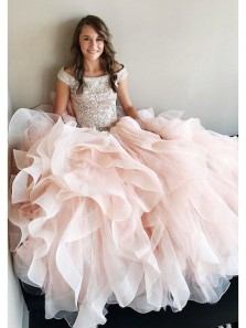 Fairy Ball Gown Off the Shoulder Organza Peal Pink Beaded Long Prom Dresses, Quinceanera Dresses