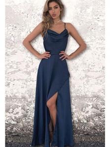 Simple A Line Slit Spaghetti Straps Open Back Dark Navy Long Prom Dresses, Summer Dresses Under 100