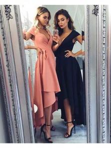 Simple A Line V Neck Elastic Satin Black High Low Prom Dresses, Formal Evening Dresses PD0804008