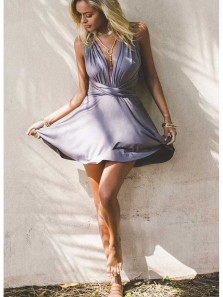 Cute A Line V Neck Cross Back Elastic Grey Short Homecoming Dresses, Simple Short Prom Dresses Under 100