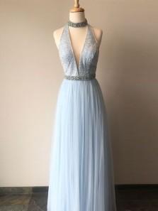 Charming A Line V Neck Halter Open Back Tulle Light Blue Long Prom Dresses with Beading, Formal Evening Dresses
