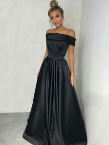 Elegant A Line Off the Shoulder Satin Black Long Prom Dresses with Pockets ,Elegant Evening Dresses PD0804010