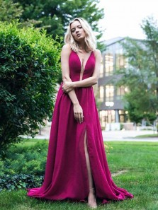 Gorgeous A Line V Neck Slit Satin Rose Red Long Prom Dresses, Formal Evening Dresses