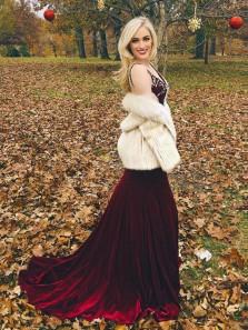 Gorgeous Mermaid V Neck Backless Velvet Wine Long Prom Dresses with Beading, Elegant Formal Evening Dresses