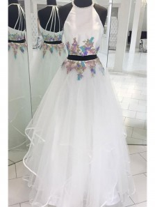 Elegant A Line Two Piece Round Neck Open Back Beaded White Lace Long Prom Dresses with Appliques, Formal Evening Dresses