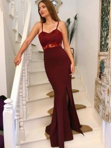 Charming Mermaid Slit Sweetheart Spaghetti Straps Burgundy Lace Long Prom Dresses, Formal Evening Dresses