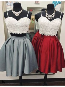 Cute A Line Two Piece Sweetheart Spaghetti Straps White Lace Short Homecoming Dresses, Formal Short Prom Dresses