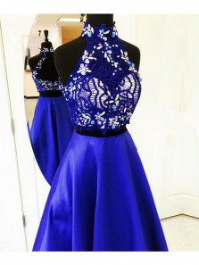 Gorgeous A Line Two Piece Halter Open Back Royal Blue Lace Prom Dresses with Beading, Formal Evening Dresses