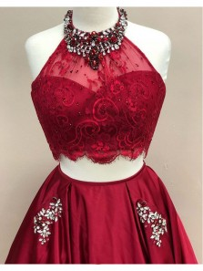 Elegant A Line Two Piece Halter Beaded Dark Red Lace Long Prom Dresses with Pockets, Elegant Evening Dresses