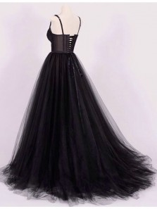 Elegant Ball Gown Sweetheart Open Back Tulle Black Lace Long Prom Dresses with Train
