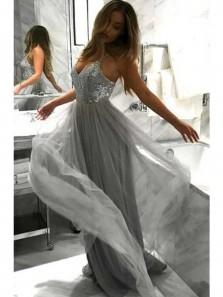 Charming A Line V Neck Open Back Tulle Sequins Grey Long Prom Dresses, Formal Evening Dresses