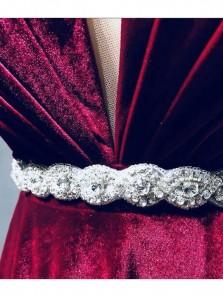 Charming A Line V Neck Open Back Velvet Wine Long Prom Dresses with Beading, Elegant Formal Evening Dresses