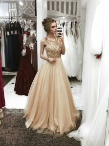 Gorgeous A Line Scoop Open Back Champagne lace Long Prom Dresses with Beaded, Formal Evening Dresses