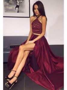 Elegant A Line Slit Two Piece Halter Burgundy Long Prom Dresses with Beading, Formal Evening Dresses