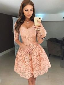 Elegant A Line V Neck Open Back Long Sleeves Apricot Lace Short Homecoming Dresses, Formal Short Prom Dresses