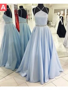 Charming A Line Halter Backless Light Blue Satin Long Prom Dresses with Beading, Formal Evening Dresses