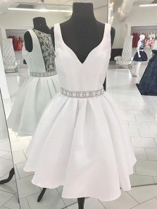 Cute A Line V Neck Satin White Short Homecoming Dresses with Beading, Formal Short Prom Dresses HD0805003
