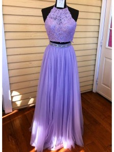 Charming A Line Two Piece Halter Backless Tulle Lavender Lace Long Prom Dresses with Beading, Formal Evening Dresses
