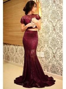 Gorgeous Mermaid Two Piece Round Neck Cap Sleeve Burgundy Lace Long Prom Dresses, Elegant Evening Dresses