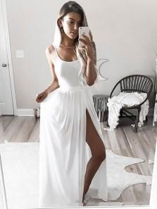 Simple A Line Slit Spaghetti Straps Chiffon White Long Prom Dresses, Formal Evening Dresses Under 100