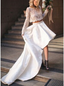 Gorgeous A Line Two Piece Lace Long Sleeves White High Low Wedding Dresses